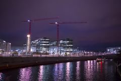 Germany Berlin, Spree, modern buildings, night city, transport rivers, beautiful night city. Germany Berlin, Spree, modern architecture, the city at night, the Royalty Free Stock Images