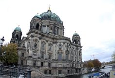 Germany Berliner Dom.At day. Berliner Dom.At day.Next we see the river flowing from the right stock photos