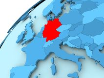 Germany on blue globe. Germany in red on blue model of political globe. 3D illustration Stock Photos