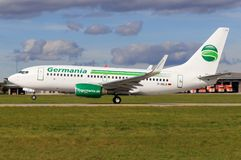 Germany Boeing 737. Stuttgart/Germany March 10, 2017: Boeing 737 from Germania at Stuttgart Airport Stock Image