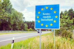 Germany border road sign. At the highway stock images