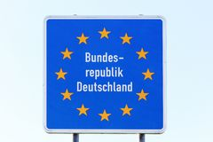 Germany border sign. Isolated Germany border sign and panel royalty free stock photo