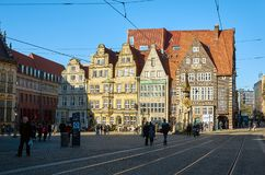 Germany. Ancient houses on the Market Square in Bremen. February 14, 2018. Germany. Bremen. Ancient houses on the Market Square in Bremen. February 14, 2018 stock photo