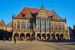 Germany. Bremen Town Hall on the Market Square in Bremen. February 14, 2018. Germany. Bremen. Bremen Town Hall on the Market Square in Bremen. February 14, 2018 stock photography
