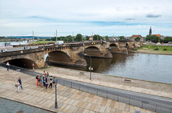 germany Bro på floden Eba i Dresden 16 Juni 2016 Royaltyfria Foton