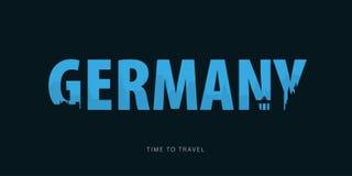 germany Bunner do curso com as silhuetas das vistas Hora de viajar Ilustração do vetor ilustração stock