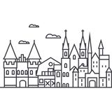 Germany castles vector line icon, sign, illustration on background, editable strokes vector illustration