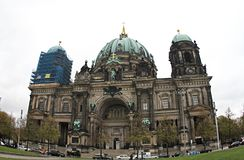 Germany Cathedral in Berlin. Cathedral in Berlin.On the left side of the cathedral we see that it is being renovated. The upper part stock images