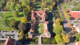Germany: Church and city from the air.  stock footage