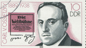 GERMANY - CIRCA 1989: a stamp printed in the Germany shows Carlvon Ossietzky, circa 1989 Stock Photography
