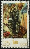 Postage stamp. GERMANY- CIRCA 1977: stamp printed by Germany, shows `When Communists Dream` by Walter Womacka, circa 1977 stock images