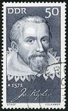 GERMANY - 1971: shows Johannes Kepler 1571-1630, mathematician, Honoring prominent Germans. GERMANY - CIRCA 1971: A stamp printed in Germany shows Johannes royalty free stock image