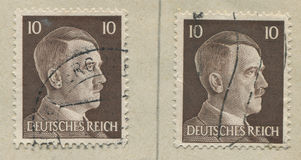GERMANY - CIRCA 1942: A stamp printed in Germany shows portrait of Adolf Hitler, circa 1942. Stock Photography