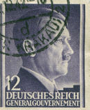 GERMANY - CIRCA 1942: A stamp printed in Germany shows portrait of Adolf Hitler, circa 1942. Stock Photos