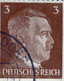 GERMANY - CIRCA 1942: A stamp printed in Germany shows portrait of Adolf Hitler, circa 1942. Stock Images