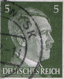 GERMANY - CIRCA 1942: A stamp printed in Germany shows portrait of Adolf Hitler, circa 1942. Royalty Free Stock Photo
