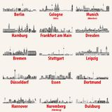 Germany cities skylines icons in black and white color palette vector set. Germany cities skylines icons in black and white color palette stock illustration