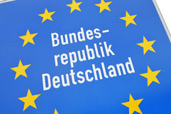 Germany. Close-up of a sign at the border of Germany a member state in the European Union - Bundesrepublik Deutschland german for Federal Republic of Germany royalty free stock images