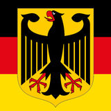 Germany coat of arm and flag Stock Photography