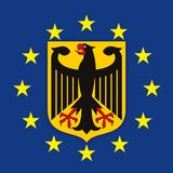 Germany coat of arms on the European Union flag royalty free stock images