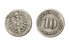 Germany coin - 10 pfennig year 1876 Royalty Free Stock Photo