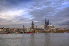 Germany, Cologne and Rhine river - Cologne Cathedral - panorama Royalty Free Stock Photos