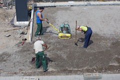 Germany - Construction boom. DUSSELDORF - JULY 16: Workers carry out landscaping on one of the new settlements in Dusseldorf, Germany on July 16, 2013 Stock Photo
