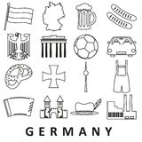 Germany country theme outline icons set Stock Photos