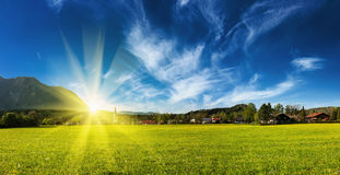 Germany countryside and village on sunset panorama Stock Photography