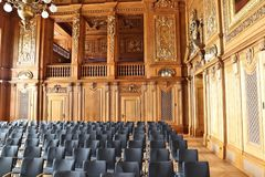 Germany court room. LEIPZIG, GERMANY - MAY 9, 2018: Timber clad court room of Federal Administrative Court (Bundesverwaltungsgericht) in Leipzig, Germany. It is stock image