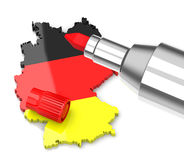 Germany cut costs. 3d generated picture of a germany silhouette and a red pen stock illustration
