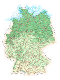 Germany - detailed topographic map - illustration. Royalty Free Stock Images