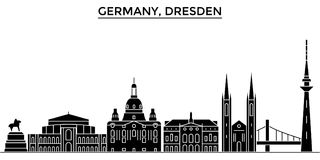 Germany, Dresden architecture vector city skyline, travel cityscape with landmarks, buildings, isolated sights on Royalty Free Stock Photography