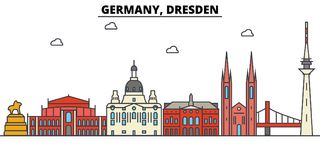 Germany, Dresden. City skyline architecture . Editable Royalty Free Stock Photography