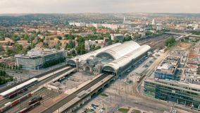 Aerial view of Dresden Central Station. Germany, Dresden, May 2019 - Aerial view of Dresden Central Station stock footage