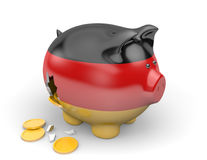 Germany economy and finance concept for unemployment and national debt crisis. 3D render of a piggy bank representing Germany`s economy and national debt crisis Stock Photo