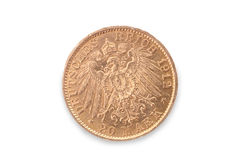 Germany empire gold coin. 20 mark. Reverse Royalty Free Stock Photo