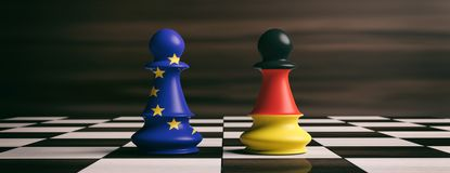 Germany and European Union flags on chess pawns on a chessboard. 3d illustration. Germany and EU cooperation concept.Germany and European Union flags on chess Stock Images