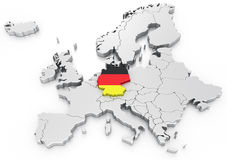 Germany on a Euro map Royalty Free Stock Photos