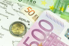 Germany, money and map. Germany, Euro money and map stock image