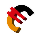 Germany Euro symbol. 3D Illustration of the Euro Symbol with Country Flag Stock Photography