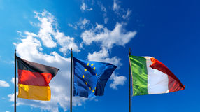Germany Europe and Italy Flags Royalty Free Stock Photography