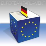 Germany, European parliament elections, ballot box and flag. European parliament elections voting box, Germany, flag and national symbols, vector illustration stock illustration
