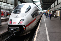 Germany - express train. STUTTGART, GERMANY - JULY 24: Intercity Express (ICE) train of Deutsche Bahn on July 24, 2010 in Stuttgart, Germany. DB took over Arriva Royalty Free Stock Photography