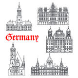Germany famous architecture buildings vector icons Royalty Free Stock Images