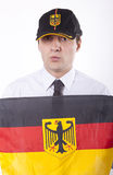 Germany fan. Man holding flag of Germany Stock Image