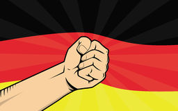 Germany fight protest symbol with strong hand and flag as background. Vector Stock Photography