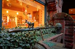 Germany. Figures of the Bremen musicians on the street Bettherstrasse in Bremen. February 14, 2018. Germany. Bremen. Figures of the Bremen musicians on the stock image
