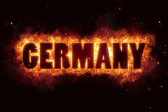 Germany fire text flame flames burn burning hot explosion Stock Image