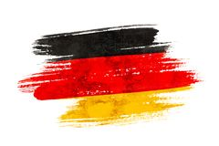 Germany flag. Art brush watercolor painting of Germany flag blown in the wind isolated on white background royalty free illustration